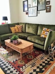 brown living room rugs. Bohemian Living Room Rug Green Vintage Midcentury Style Corner Sofa Brown Rugs
