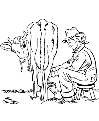 Small Picture Farm Work and Chores coloring page Farm Boy milking a cow