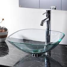 glass vessel sinks for bathrooms. Bathroom Tempered Glass Vessel Sink Natural Clear Square Shape Transparent Basin - Amazon.com Sinks For Bathrooms