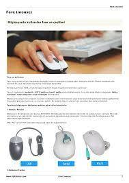 Bilgisayar Donanımları : Fare (mouse)