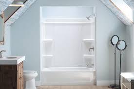 sterling offers a caulk free shower installation builder regarding seamless tub surround decor 2