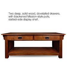 Wooden Coffee Tables With Drawers Amazoncom Leick Furniture Mission 2 Drawer Coffee Table Medium
