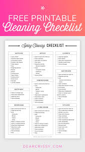 Free Printable Cleaning Checklist Spring Cleaning Planner