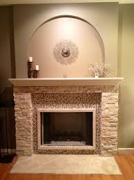 fascinating stacked marble stone fireplace mantel with glass tiles mosaic surround