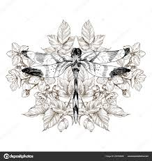 цветы и стрекоза векторные татуировки в стиле винтаж отдельные