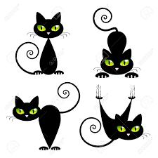 Chat Noir Avec Les Yeux Verts Vector Illustration Pour Enfants