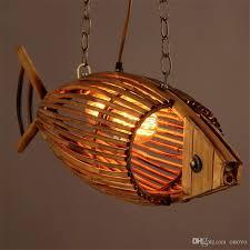bamboo wood light originality fish pendant lamp retro rural restaurant cafe bar hanging light personality weaving pendant lights glass pendant light pendant