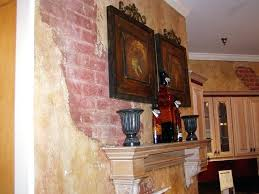 faux wall finishes close up old world kitchen brick breakaway faux italian wall painting