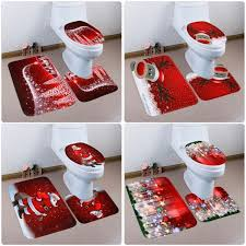 senarai harga 3 pcs toilet foot pad seat cover cap fancy rug set bathroom set decoration xmas supplies carpet washable terkini di