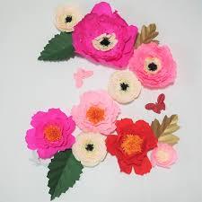 Tissue Paper Flower Decor Giant Crepe Paper Flowers 4 Leaves 3 Butterflies Wedding Backdrop