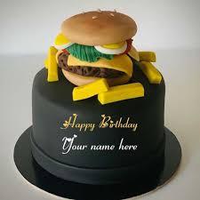 burger birthday cake with name for foo