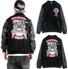 brooklyn streetwear men s leather sleeve hip hop jackets men printed within baseball jacket aliexpress