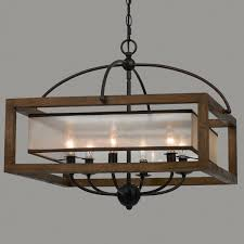 wood foyer light square wood frame and sheer chandelier light chandeliers on country style diy hanging