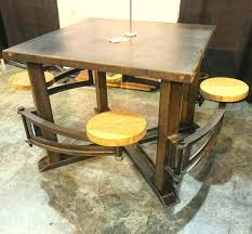 swing out table swing out stool industrial swing out seat wood restaurant dining table vintage industrial