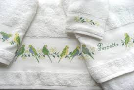 cross stitching on ready to stitch bathroom towels