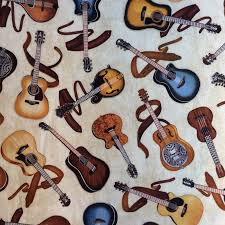 Guitar Music Electric and Acoustic Guitars Music Band Quilt Cotton ... & Guitar Music Electric and Acoustic Guitars Music Band Quilt Cotton Quilting  Fabric RJ15 Adamdwight.com