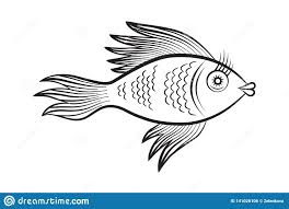 Restaurant Coloring Page Stylized Fantasy Fish Vector Illustration For Restaurant