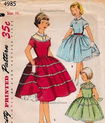 Ladies Dress Design Patterns Child S 1 Piece Dress With Wide Skirt Vintage 1954 Simplicity Sewing Pattern
