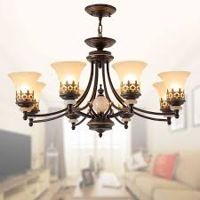 8 light black wrought iron chandelier with glass shades dk 1001 8s