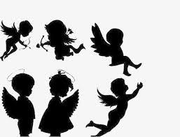 無料ダウンロードのための天使のシルエット 翼 黒い 手描き作品png画像素材