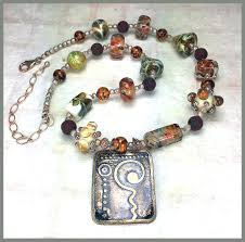 lampwork glass bead etched bronze pendant necklace