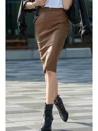 pure color pu leather pencil skirt yellow s