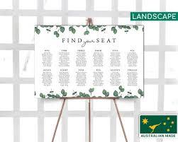 Greenery Wedding Seating Chart Landscape Wedding Reception Seating Plan Australian Made Free Shipping
