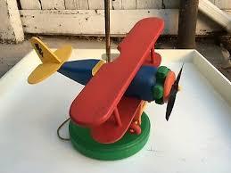 rare vintage bi airplane lamp wood