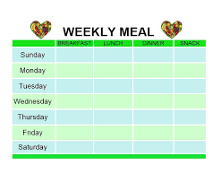Weekly Food Menu Chart 40 Weekly Meal Planning Templates Template Lab