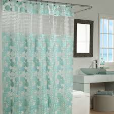 bathroom, Cool Bathroom With Cute Light Green Accents Curtain Pattern And  Comfy White Freestanding Bathtub