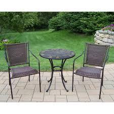 oakland living stone art 3 piece brown metal frame bistro patio dining set