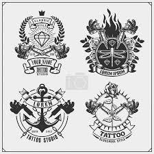 Vektorová Grafika Sada Tetování Salon štítky Odznaky A Prvky Návrhu