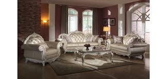 Pearl Color Leather Traditional Living Room Set 652