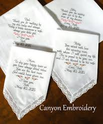 embroidered handkerchiefs wedding. embroidered wedding handkerchiefs gifts for mon and dad parents of the bride groom set four handkerchief canyon embroidery