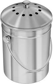 utopia kitchen stainless steel compost bin for kitchen countertop 1 3 gallon