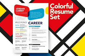 Your colorful resume may appear very different when opened on someone else's screen. Colorful Resume Set Creative Resume Templates Creative Market