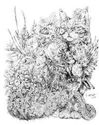 魔法の世界の生き物のよう 動物と植物が調和したファンタジーな水彩画が