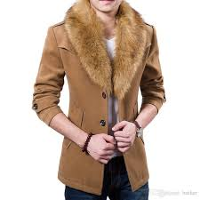 whole new mens pea coat 2016 fashion design fur collar mens slim fit wool blend trench coat jacket brand stylish overcoat peacoat xl from