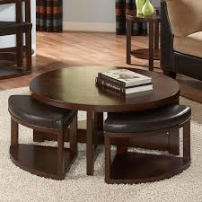 Coffee Table, Awesome Deep Brown Round Simple Laminated Wood Coffee Table  With Ottomans Underneath Design ...