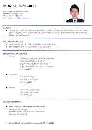 vibrant design resume format samples 10 resume sample philippines - Resume  A Sample