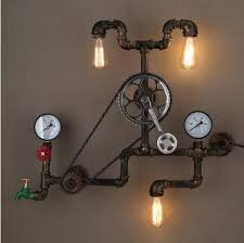 industrial pipe lighting. 2018 Loft Style Iron Water Pipe Lamp Edison Wall Sconce Retro Gear Light Fixtures For Home Vintage Industrial Lighting Lampara From Xiongge5465, T