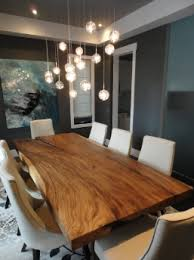 dinner table lighting. //Dining Room With Live Edge Table, Bubble Lights! Dinner Table Lighting