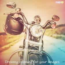 motorcycle photo in retro style with color filter applied
