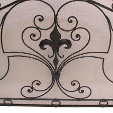 american wrought iron fireplace screen with fleur de lis for