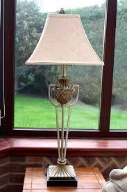 Table Lamp Bronze Metal Standard Lamp Shade Antique Repro Vintage