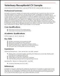 Sample Resume For Receptionist Gorgeous Veterinary Receptionist CV Sample MyperfectCV