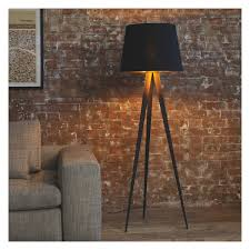 yves black metal tripod floor lamp base now at habitat uk