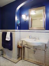 royal blue bathroom gives cool clean feel