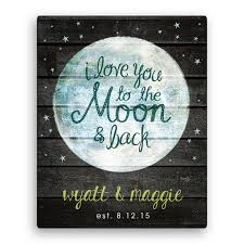 love you to the moon and back canvas wall art