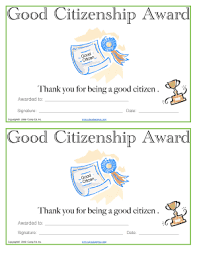 Fillable Online Date Good Citizenship Award School